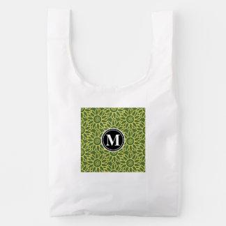 Monograma personalizado girasol de la copa bolsa reutilizable
