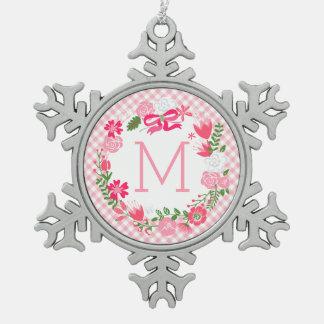 Monograma personalizado guirnalda floral rosada adornos