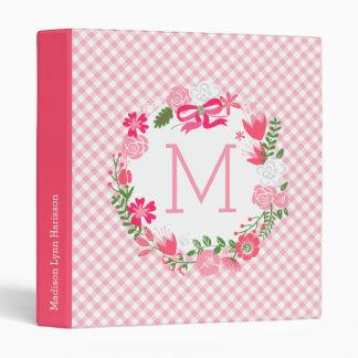 Monograma personalizado guirnalda floral rosada