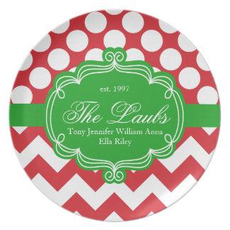 Monograma personalizado impresión del navidad del platos de comidas