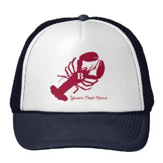 Monograma personalizado langosta roja náutica gorro