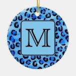 Monograma personalizado, modelo azul del estampado ornamento de reyes magos