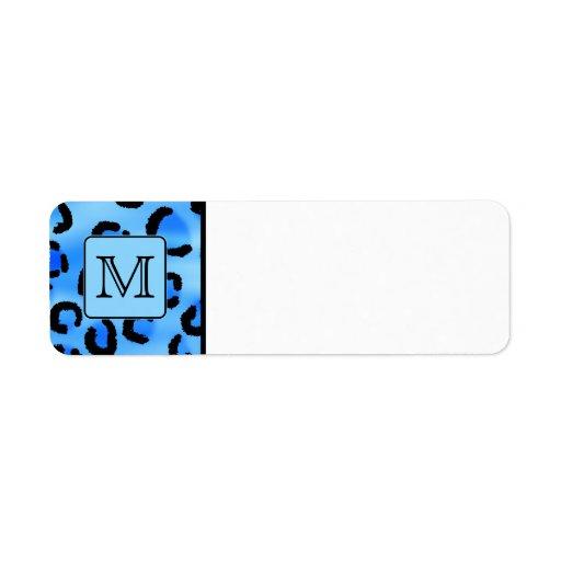 Monograma personalizado, modelo azul del estampado etiquetas de remite