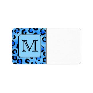 Monograma personalizado, modelo azul del estampado etiquetas de dirección