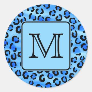 Monograma personalizado, modelo azul del estampado etiquetas redondas