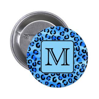 Monograma personalizado, modelo azul del estampado pin redondo de 2 pulgadas