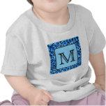 Monograma personalizado, modelo azul del estampado camisetas
