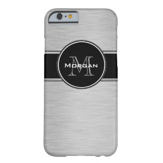 Monograma personalizado negro de plata funda de iPhone 6 barely there