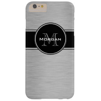 Monograma personalizado negro de plata funda de iPhone 6 plus barely there