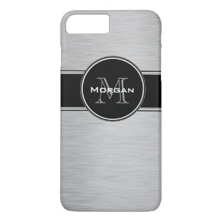 Monograma personalizado negro de plata funda iPhone 7 plus