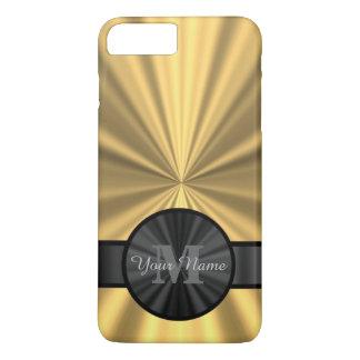 Monograma personalizado oro elegante elegante funda iPhone 7 plus