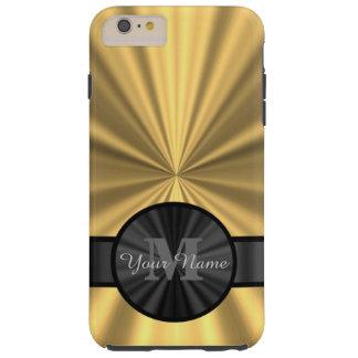 Monograma personalizado oro elegante elegante funda resistente iPhone 6 plus