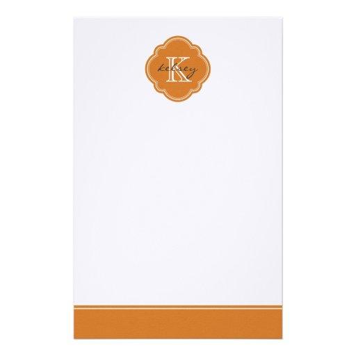 Monograma personalizado personalizado anaranjado q  papeleria de diseño