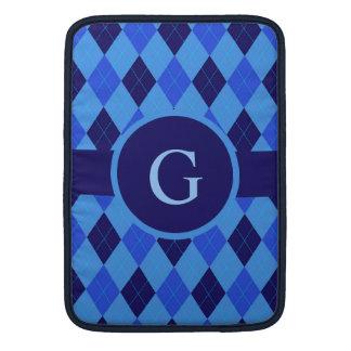 Monograma personalizado personalizado azul del fundas MacBook
