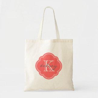 Monograma personalizado personalizado coralino bolsas