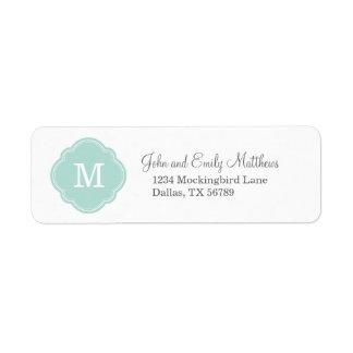 Monograma personalizado personalizado de la menta etiqueta de remite