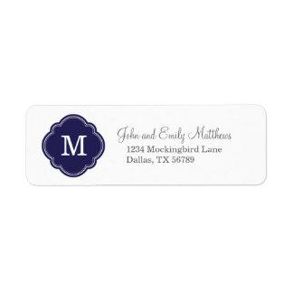 Monograma personalizado personalizado de los azule etiquetas de remite