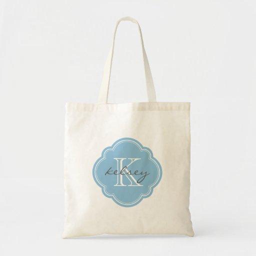Monograma personalizado personalizado del azul de  bolsa