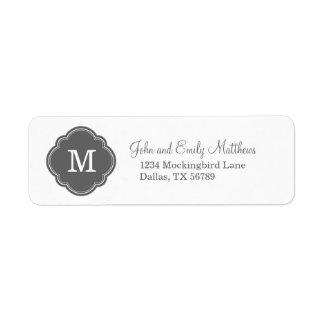 Monograma personalizado personalizado del gris de etiqueta de remite