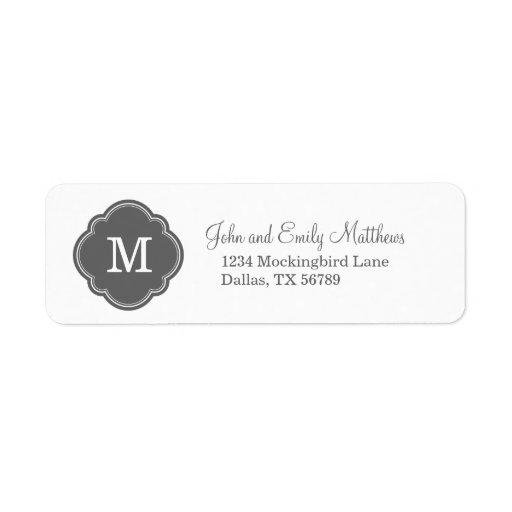 Monograma personalizado personalizado del gris de  etiquetas de remite