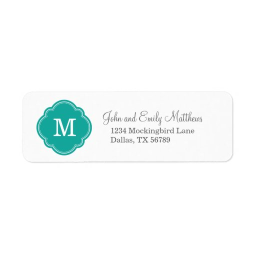 Monograma personalizado personalizado del trullo etiqueta de remite