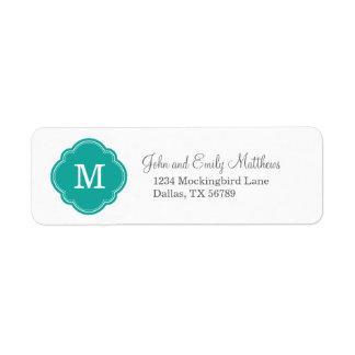Monograma personalizado personalizado del trullo etiqueta de remitente