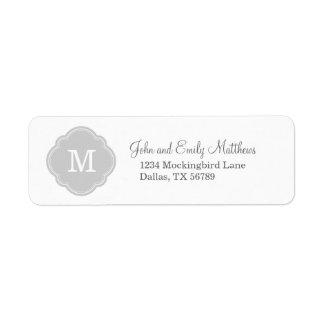 Monograma personalizado personalizado gris etiquetas de remite