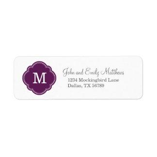 Monograma personalizado personalizado púrpura del  etiqueta de remite