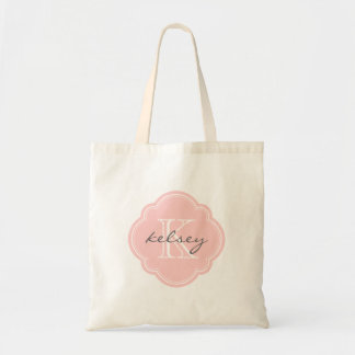 Monograma personalizado personalizado rosa claro bolsa tela barata