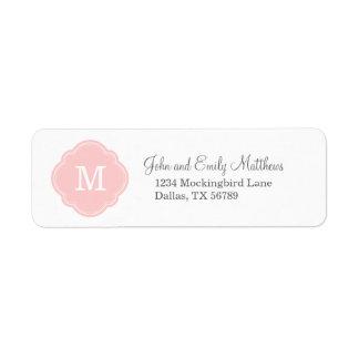 Monograma personalizado personalizado rosa claro etiqueta de remitente