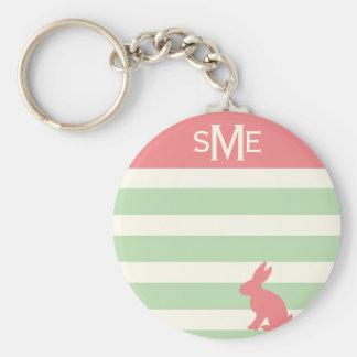 Monograma personalizado raya linda del conejo llavero redondo tipo pin