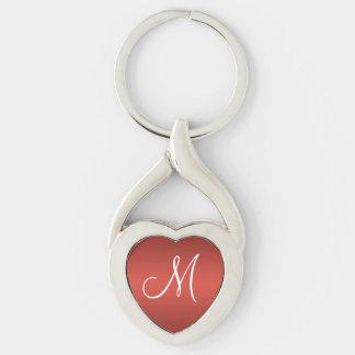 Monograma personalizado rojo llavero plateado en forma de corazón