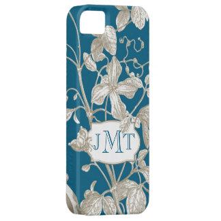 Monograma personalizado, vid floreciente botánica iPhone 5 carcasa