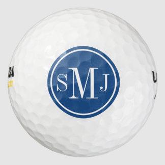 Monograma personalizado y marco azul clásico pack de pelotas de golf
