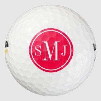 Monograma personalizado y marco color de rosa pack de pelotas de golf