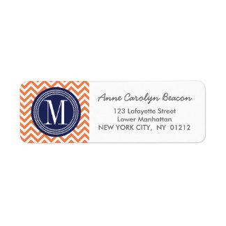 Monograma personalizado zigzag anaranjado de etiquetas de remite