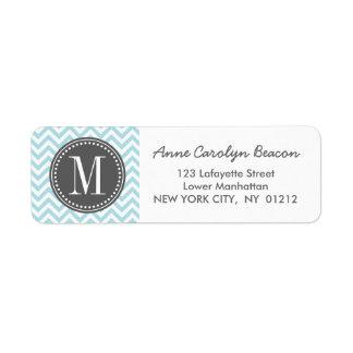 Monograma personalizado zigzag azul claro de Chevr Etiquetas De Remite