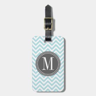 Monograma personalizado zigzag azul claro de Chevr Etiquetas De Maletas