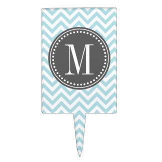 Monograma personalizado zigzag azul claro de Chevr Figura De Tarta