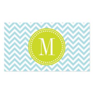 Monograma personalizado zigzag azul claro de Chevr