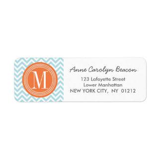 Monograma personalizado zigzag azul claro de etiqueta de remite
