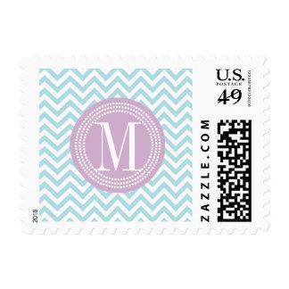 Monograma personalizado zigzag azul claro de envio