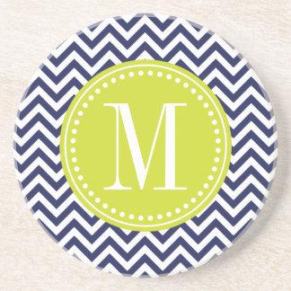 Monograma personalizado zigzag de Chevron de la ma Posavasos Diseño