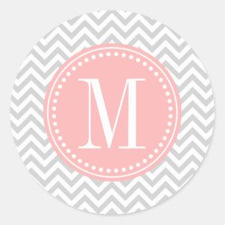 Monograma personalizado zigzag gris claro de etiqueta redonda