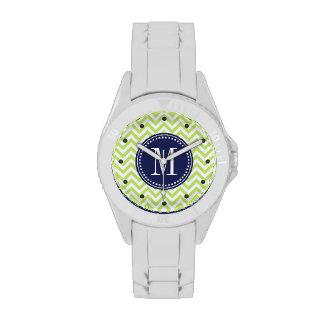 Monograma personalizado zigzag verde de Chevron Reloj De Mano