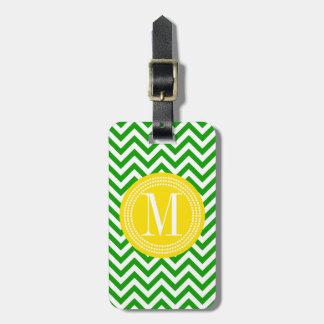 Monograma personalizado zigzag verde oscuro de Che Etiqueta Para Equipaje