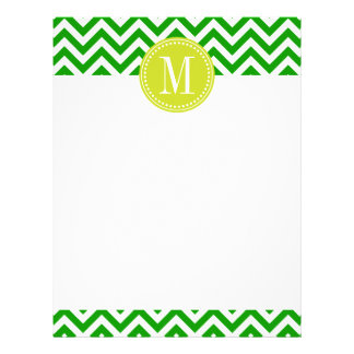 Monograma personalizado zigzag verde oscuro de Che Plantilla De Membrete