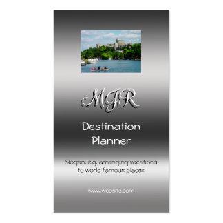 Monograma, planificador del destino, plantilla de tarjeta de visita