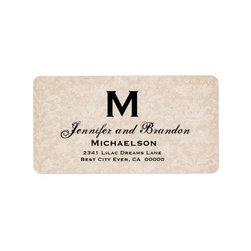 Monograma poner crema antiguo del boda personaliza etiqueta de dirección