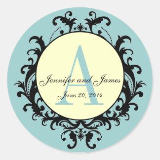 Monograma poner crema azul del boda una etiqueta